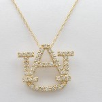 Large 14k Yellow Gold Diamond AU Pendant