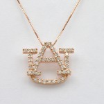 Large 14k Rose Gold Diamond AU Pendant
