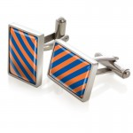 Orange and Dark Blue Inlay Cufflinks By M-Clip®