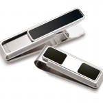 Stainless with Black Enamel Inlay 2 Pocket Money Clip By M-Clip®