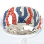 Orange And Blue Tiger Stripe Ring