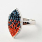 Orange And Blue Crystal Football Shaped Ring