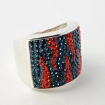 Orange And Blue Crystal Tiger Stripe Ring