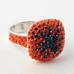 Orange And Blue Crystal Starburst Ring