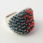 Orange And Blue Crystal Ring