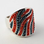Orange And Blue Crystal Striped Ring