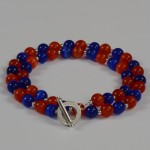 Orange And Blue Cateye Bead Necklace
