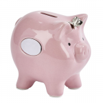 PINK CERAMIC PIGGY BANK WITH BOW