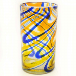 Orange and Blue Swirled Ice Tea Glass