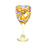 Orange and Blue Swirled Wine Glass