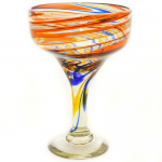Orange and Blue Swirled Margarita Glasses