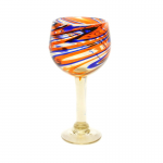 Orange and Blue Swirled Bola Glass, 12 OZ
