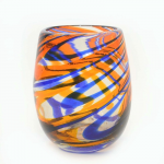 Orange and Blue Swirled Stemless Wine