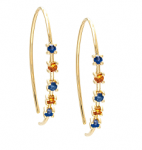 14KY BLUE AND ORANGE SAPPHIRE HOOPS