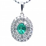 18K White Gold Oval Emerald Pendant with Double Halo