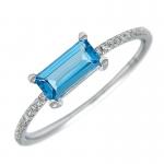 Blue Topaz Bar Ring with Diamonds