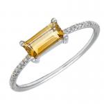 Citrine Bar Ring with Diamonds
