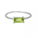 Peridot Bar Ring with Diamonds