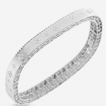 Roberto Coin Princess Satin Finish Slim Bangle in 18KW with Fleur de Lis Diamonds