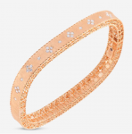 Roberto Coin Princess Satin Finish Slim Bangle in 18KP Gold with Fleur de Lis Diamonds