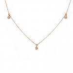 14K Rose Gold Necklace with 3 Pavé Disc Stations