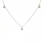 14K White Gold Necklace with 3 Pavé Disc Stations