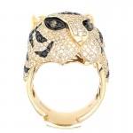 Multicolored Diamond Tiger Head Ring