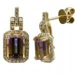 14K Yellow Gold Ametrine Earrings with Halo