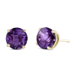 6MM ROUND AMETHYST STUD EARRING 14KY