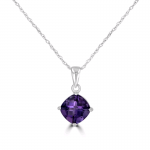 7MM CUSHION CUT AMETHYST PENDANT 14KW