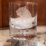 Etched Tiger Single Malt Rocks Glass