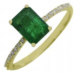 14Y Emerald Ring with Pavé Band