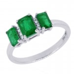 14W Three Stone Emerald Ring with Diamond Accents