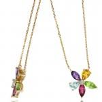 14K Rose Gold Multi-Stone Flower Necklace