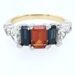 14K Yellow and White Gold Sapphire and Garnet Ring with Diamonds