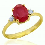 14Y OVAL RUBY AND DIAMOND RING