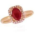 14KP Oval Ruby Ring with Halo