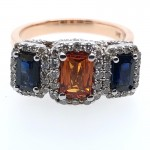 Orange and Blue Sapphire War Eagle Ring in Rose Gold
