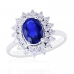 14W Oval Sapphire Ring with Double Halo