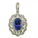 14K White Gold Tanzanite Pendant with Diamonds