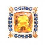Rose Gold Citrine and Sapphire Spirit Ring
