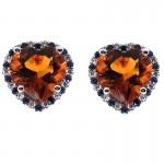 Citrine Heart Studs with Sapphire and Diamond Halo