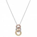 18k Tri Color Pave Diamond Pendant with Chain