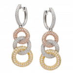 18K Tri Color Pave Diamond Earrings