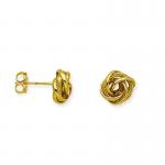 Diamond Cut Hoop Love Knot Earrings