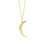 14K Yellow Gold Crescent Moon Pendant Necklace