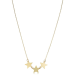 14K Yellow Gold Triple Star Necklace
