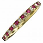 14K Yellow Ruby and Diamond Stackable Ring