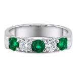 .40ct Diamond and Emerald Band 14KW