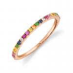 Shy Creation Multicolor Sapphire Rainbow Band